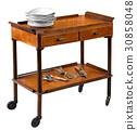 Vintage wooden serving trolley on wheels 30858048
