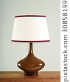 Elegant brown bulbous vintage lamp with shade 30858199