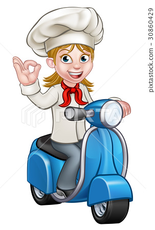 Woman Delivery Scooter Female Chef 30860429