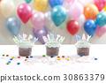 생일케이크, 선택초점, 컵케이크 30863379