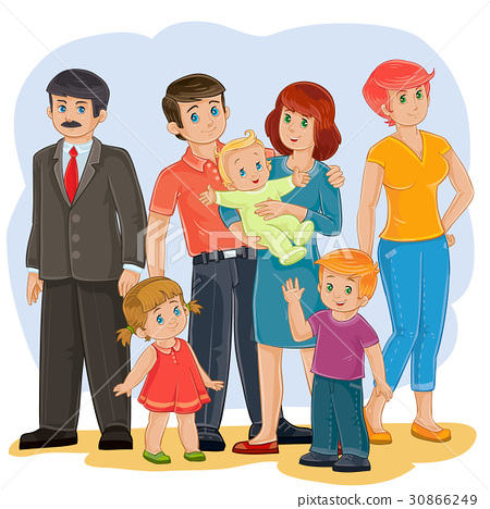 Vector happy family - grandfather, grandmother 30866249
