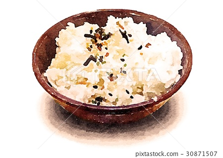 生动的光华手写水彩拦截图片白色背景:白米饭 30871507