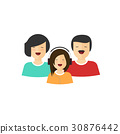 Happy family portrait view vector, flat cartoon 30876442