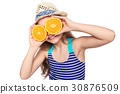 Girl in swimsuit making eyeglasses with oranges 30876509