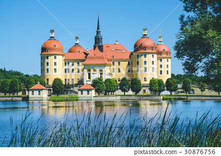 Castle Moritzburg in Saxony near Dresden. Pond 30876756