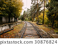 Railway Road At Autumn Rainy Day 30876824