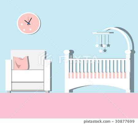 Baby room Flat. Nursery room Vector  illustration. 30877699