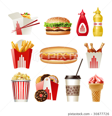 Set beautiful cartoon icons of fast food 30877726