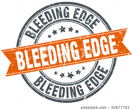 bleeding edge round grunge ribbon stamp 30877781