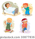 Set icons little boy sick 30877836