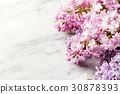 Lilac flowers on marble background. Copy space. 30878393