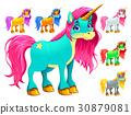 Set of cartoon unicorns 30879081
