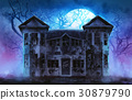 Old wooden grungy dark evil haunted house. 30879790