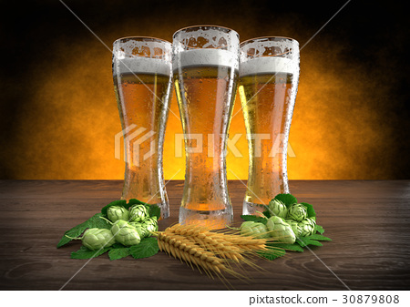 three glasses of beer with barley and hops. 3D 30879808
