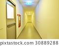 walkway Exit fire escape door with signs. 30889288