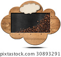 Cloud-shaped Blackboard with Coffee Beans 30893291