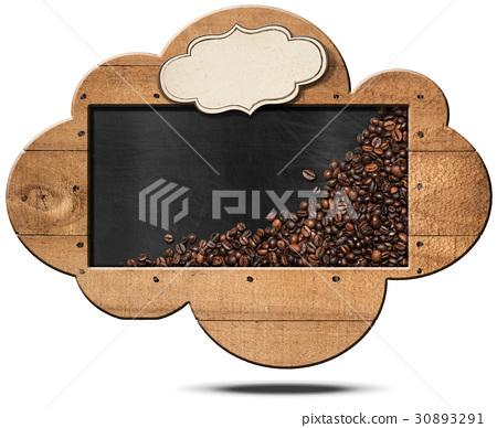 Cloud-shaped Blackboard with Coffee Beans 30893291