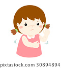 Girl scratching itching rash on his body vector. 30894894