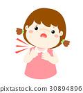 Sick girl sore throat cartoon vector. 30894896