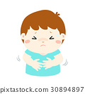 Little boy having stomach ache cartoon vector. 30894897
