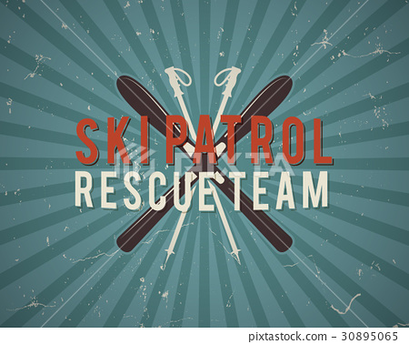 Ski patrol vector background, brochure and label 30895065