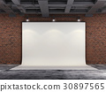 3D Projector Screen on brick wall, illustration 30897565