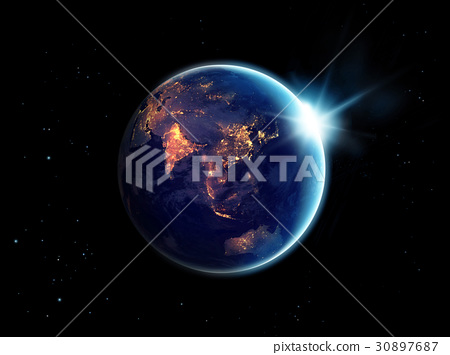 City light at night in planet earth with sun rise 30897687