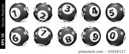 Black and white lottery number balls isolated 30899157