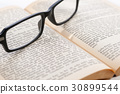 Old Book with Glasses, close-up 30899544