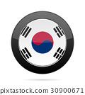 Flag of South Korea. Shiny black round button. 30900671