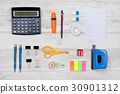 Business desk in office top view arranged 30901312