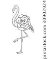 可爱 火烈鸟 图形 30902924