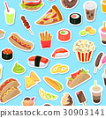Fast and Junk kinds of Food Scattered on Blue 30903141
