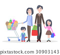 Family Shopping Cartoon Flat Vector Concept 30903143