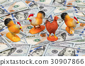 Roosters and chicken on money 30907866