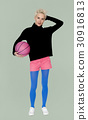 Caucasian Blonde Woman Holding Basketball 30916813