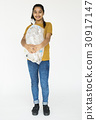 Ecology young adult girl separate recycle stuff 30917147