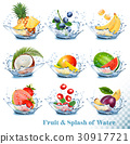 Big collection of fruit in a water splash.  30917721