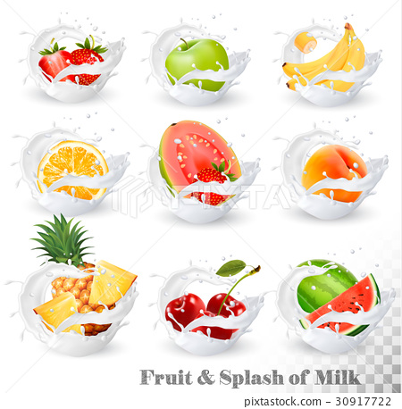 Big collection of fruit in a milk splash.  30917722