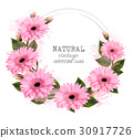 Natural vintage greeting card with pink flowers.  30917726