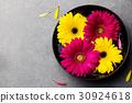 Colorful gerbera flowers in black bowl. Top view. 30924618
