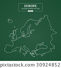 Europe Map Outline Stroke on Green Background 30924852