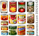 Different kinds of food in can 30929142