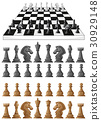 Chessboard and different chess pieces 30929148