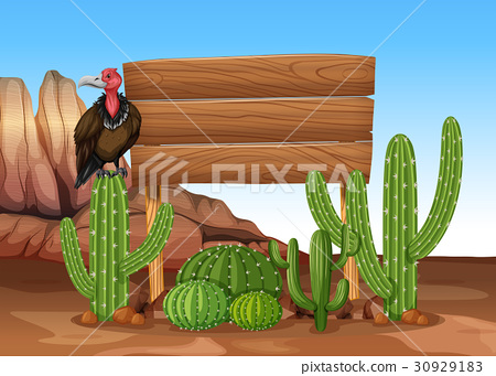Wooden sign with cactus and vulture 30929183