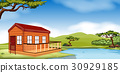 Wooden cottage by the river 30929185
