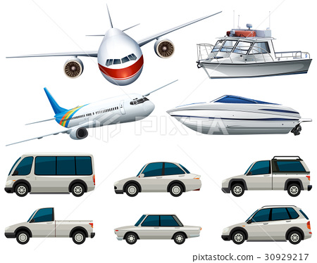 Different types of transportation in white color 30929217