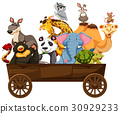 Many kinds of animals in wooden wagon 30929233