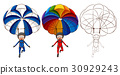 Three drawing styles of man parachute 30929243