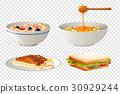 Four different breakfast menu 30929244